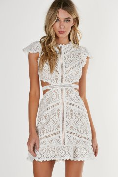 round neck short sleeve dress sweet doily crochet dress